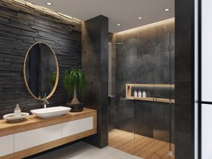 luxurious modern bathroom with a large stand-up shower with double doors