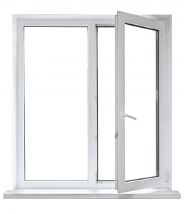 Open White Casement Window Set Against White Background